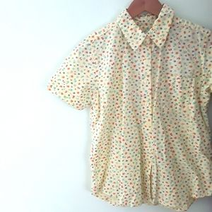 Vintage Short Sleeve Button Down Floral Lady Bug